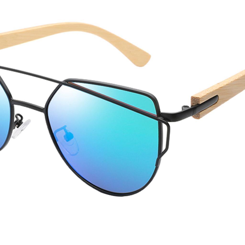 uomo-donna-moda-in-legno-uv-400-lenti-piatte-occhiali-da-sole-con-gambe-di miniatura 20