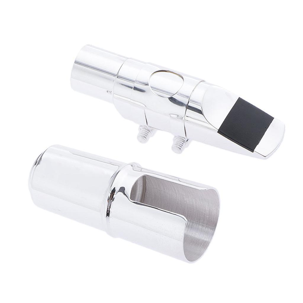 Alto-Tenor-Sax-Saxophone-Mouthpiece-with-Ligature-and-Cap-Golden-Silver thumbnail 7