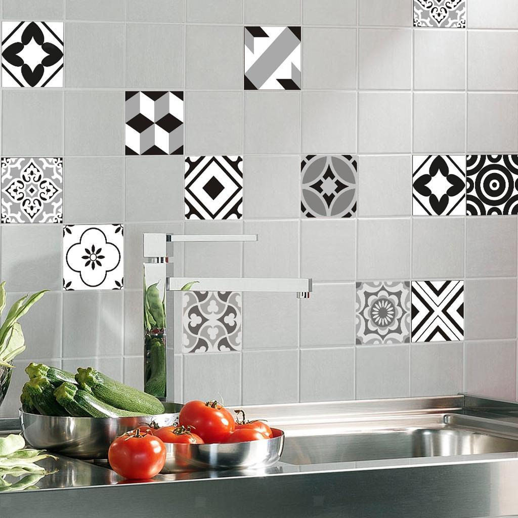 12pcs Bohemia Style Mosaic Wall Tiles Stickers Kitchen Bathroom Tile ...