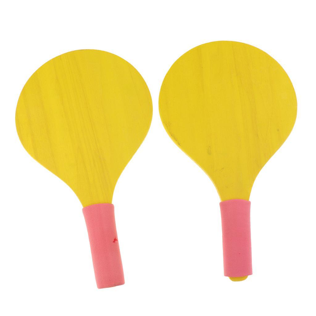 Wooden-Beach-Paddle-Ball-2-Paddles-Racket-Game-Table-Tennis-Badminton-Game thumbnail 6