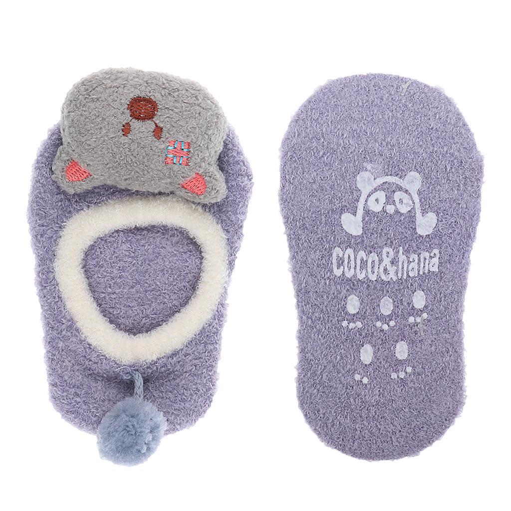 Chaussons-Bebe-Chaussettes-Bateaux-Antiderapant-Cartoon-Chaud-Pompon-Coton-Doux miniature 21