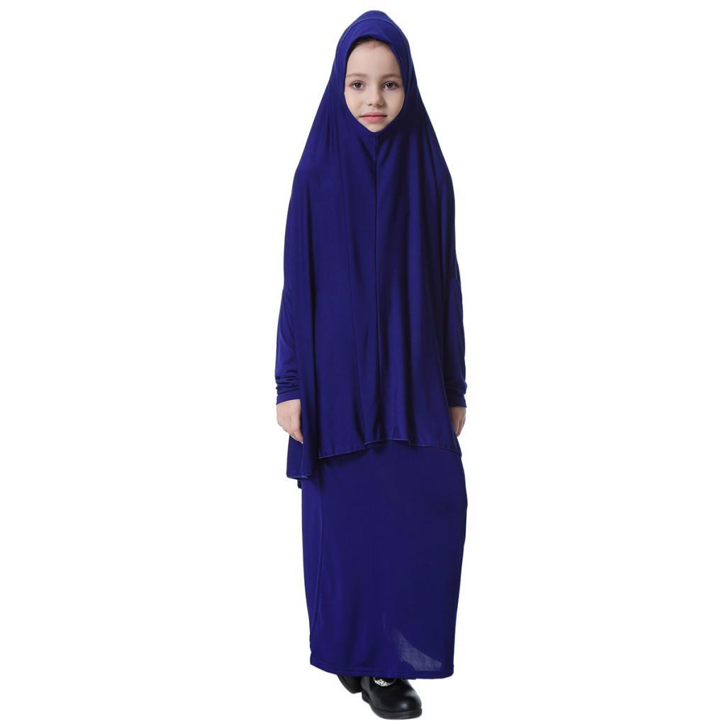 Fille-Robes-Musulmane-Islamique-a-Manches-Longues-Deux-Pieces-Priere-Robe miniature 23