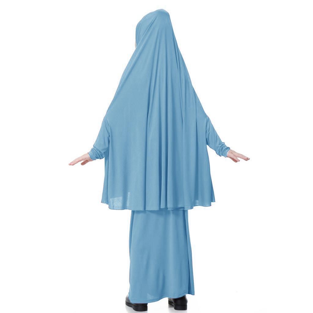 Fille-Robes-Musulmane-Islamique-a-Manches-Longues-Deux-Pieces-Priere-Robe miniature 39