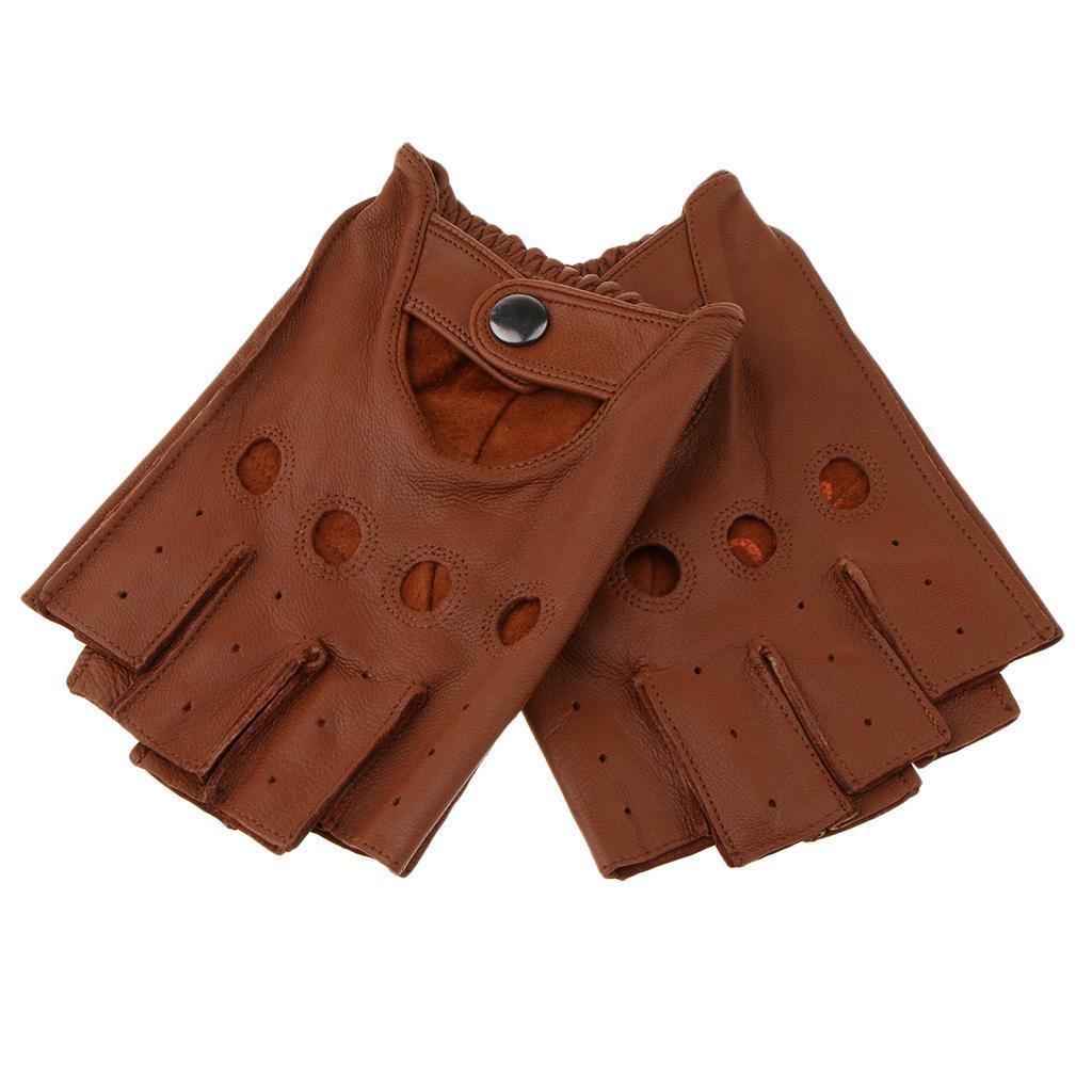 6c31f4daf0356f Herren-Damen-Lederhandschuhe-Halbfinger-fingerlose-Handschuhe-Fahrhandschuh  Indexbild 24