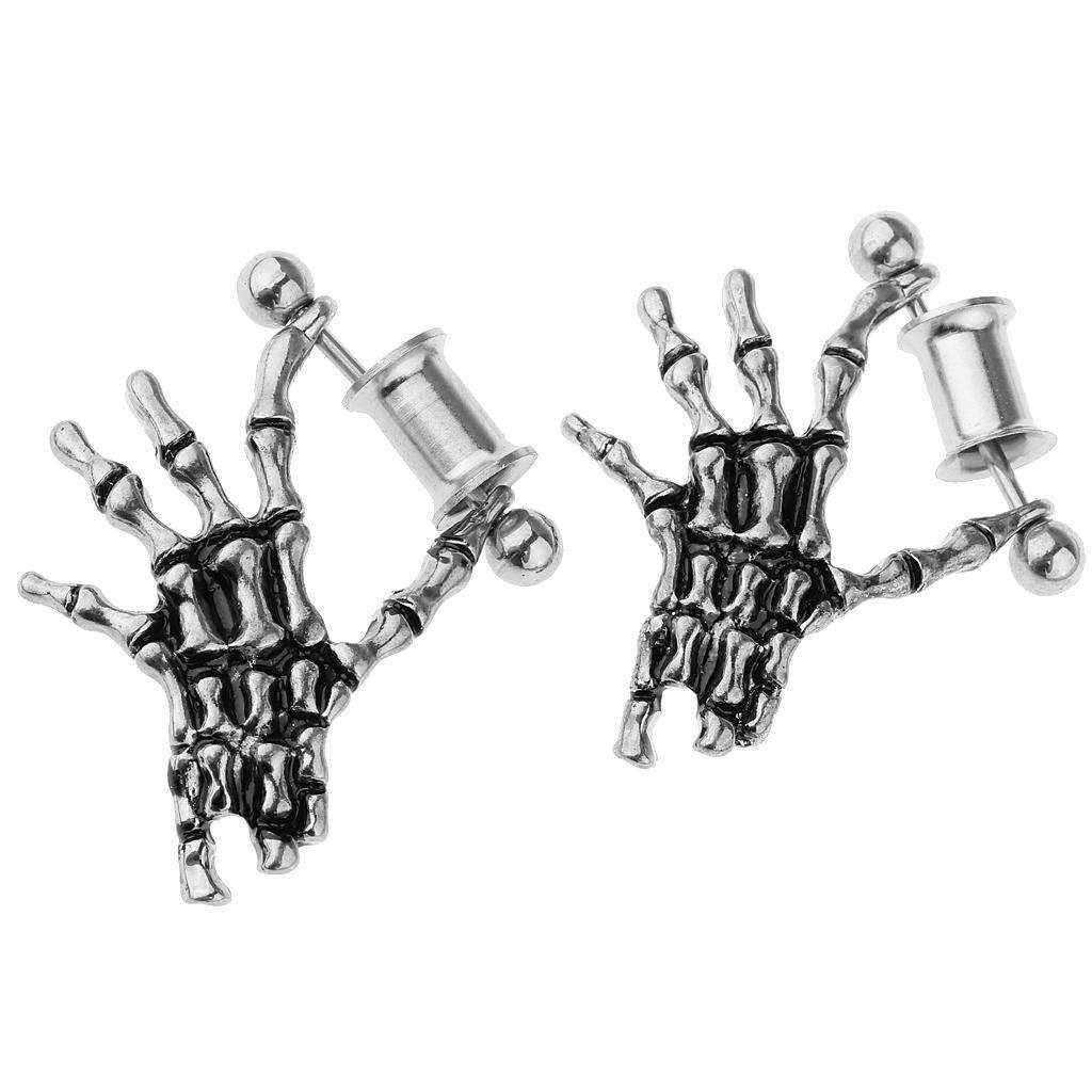 2-pezzi-in-acciaio-inox-scheletro-mano-tappi-per-orecchie-expander-calibri miniatura 4