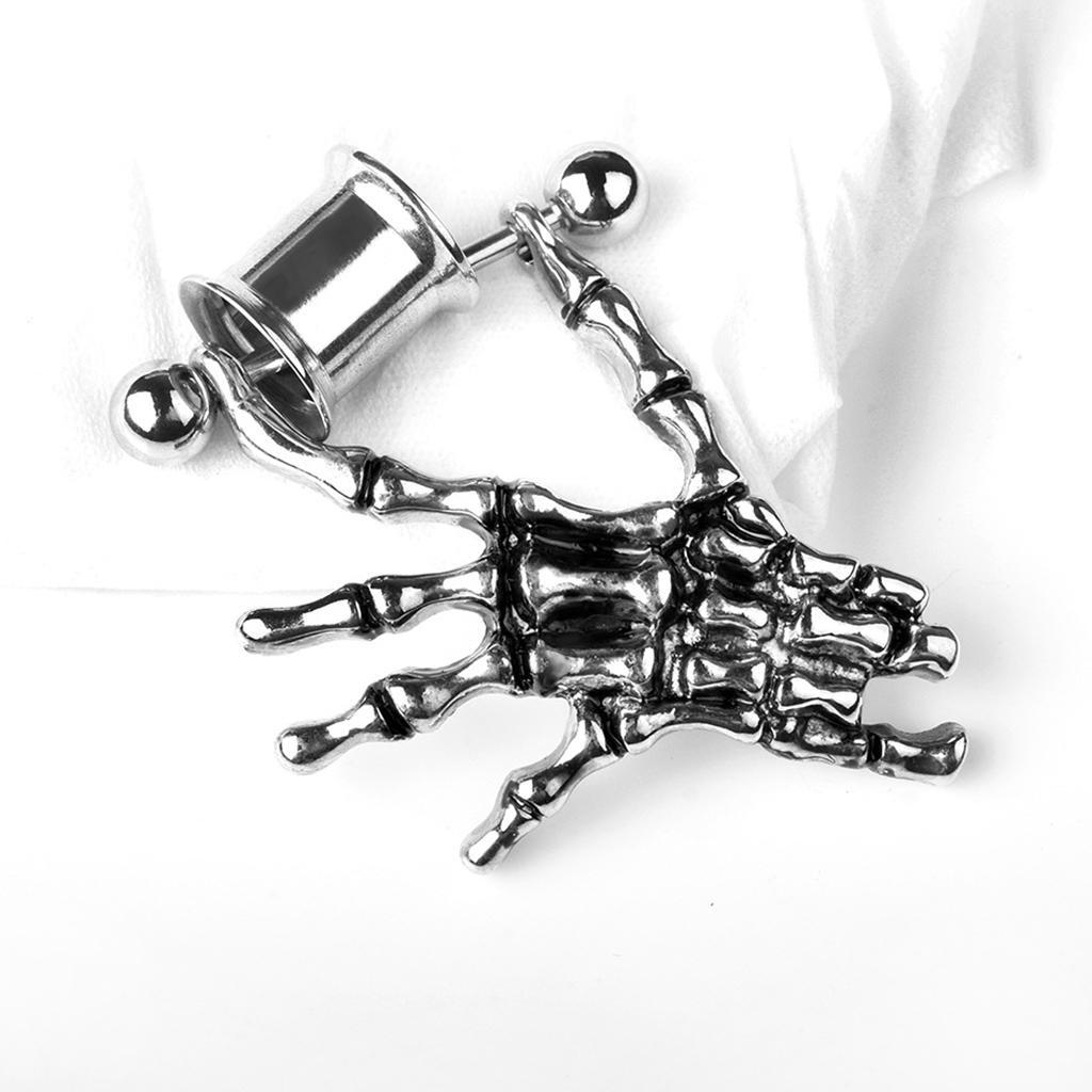 2-pezzi-in-acciaio-inox-scheletro-mano-tappi-per-orecchie-expander-calibri miniatura 3