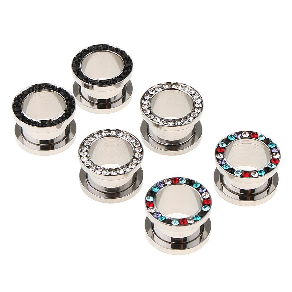 3-coppie-di-tappi-per-orecchie-in-acciaio-inox-Vite-per-tunnel-Tappi-per miniatura 13
