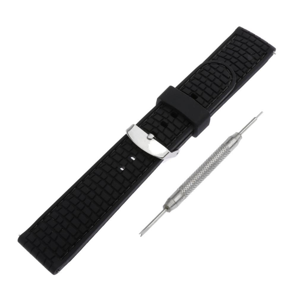 Waterproof-Silicone-Watch-Band-Strap-with-Stainless-Steel-Pin-Buckle-22mm thumbnail 11