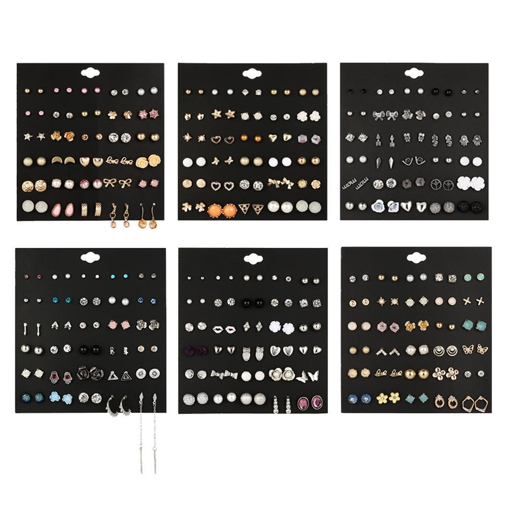 30Pair-Set-Hypoallergenic-Geometric-Crystal-Earrings-Piercing-Stud-Earrings miniature 14