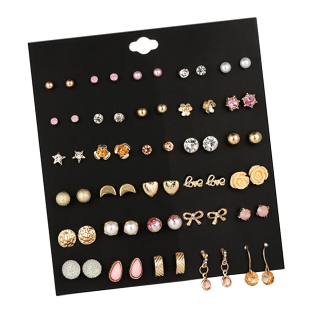 30Pair-Set-Hypoallergenic-Geometric-Crystal-Earrings-Piercing-Stud-Earrings miniature 7