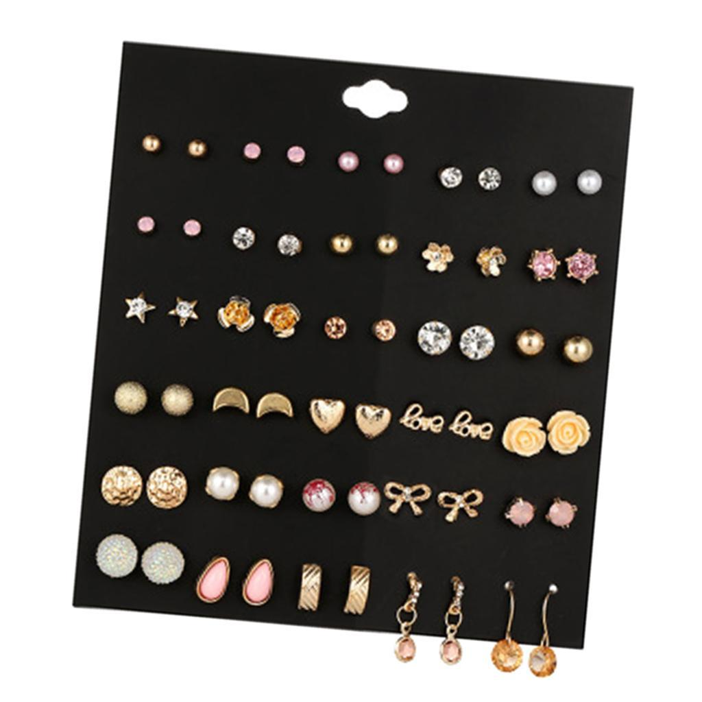 30Pair-Set-Hypoallergenic-Geometric-Crystal-Earrings-Piercing-Stud-Earrings miniature 8
