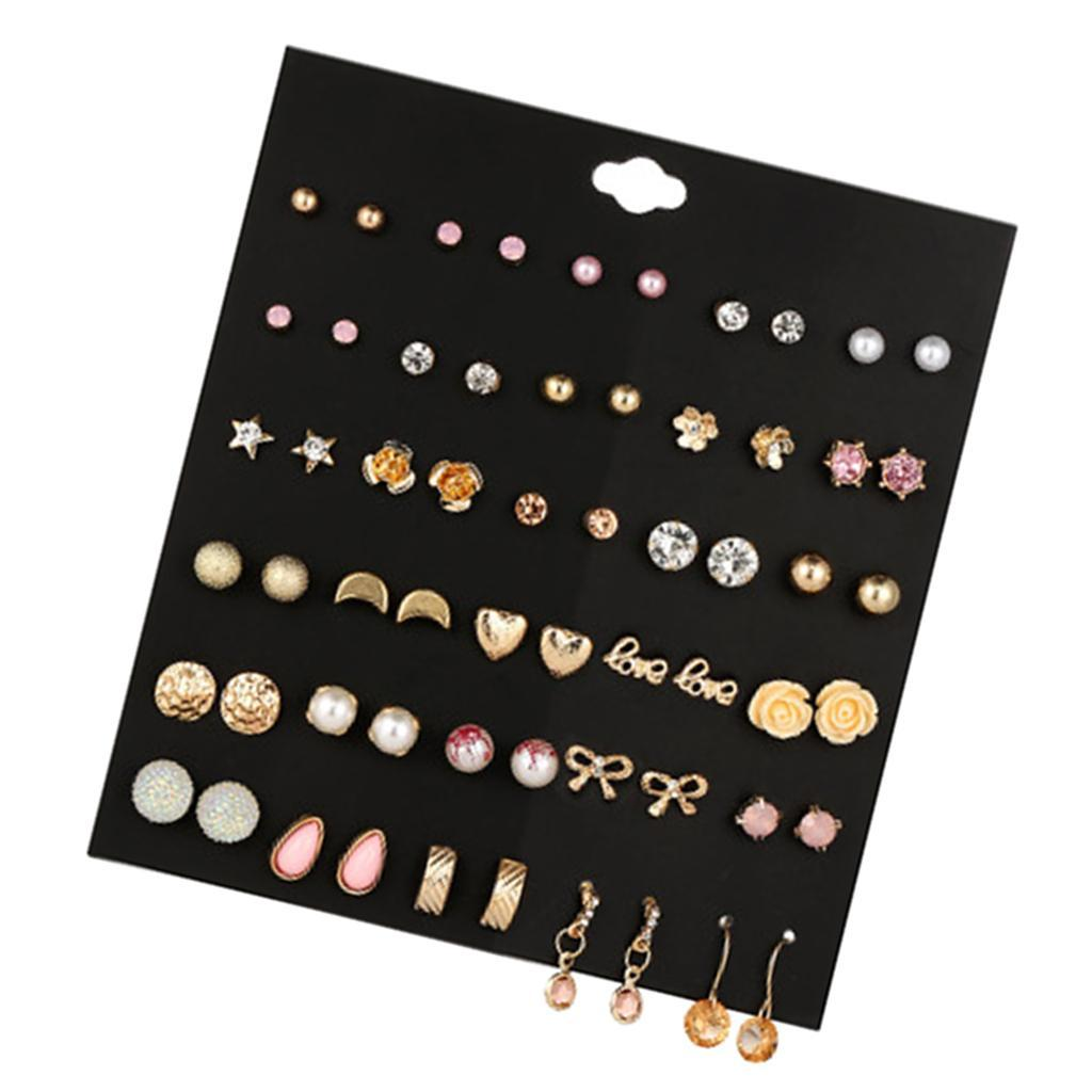 30Pair-Set-Hypoallergenic-Geometric-Crystal-Earrings-Piercing-Stud-Earrings miniature 11