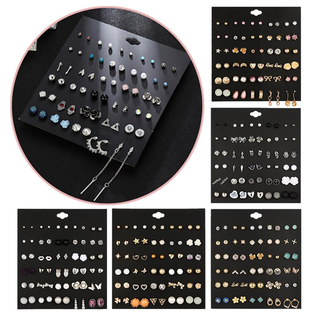 30Pair-Set-Hypoallergenic-Geometric-Crystal-Earrings-Piercing-Stud-Earrings miniature 12