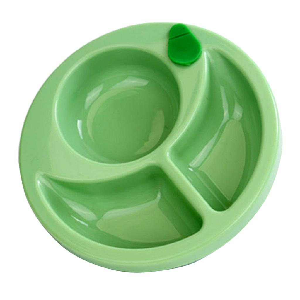 Plastic Divided Anti-skid Sucker Food Tray Dish Plate Feeding Bowl Tableware Set for Baby Toddler –Green