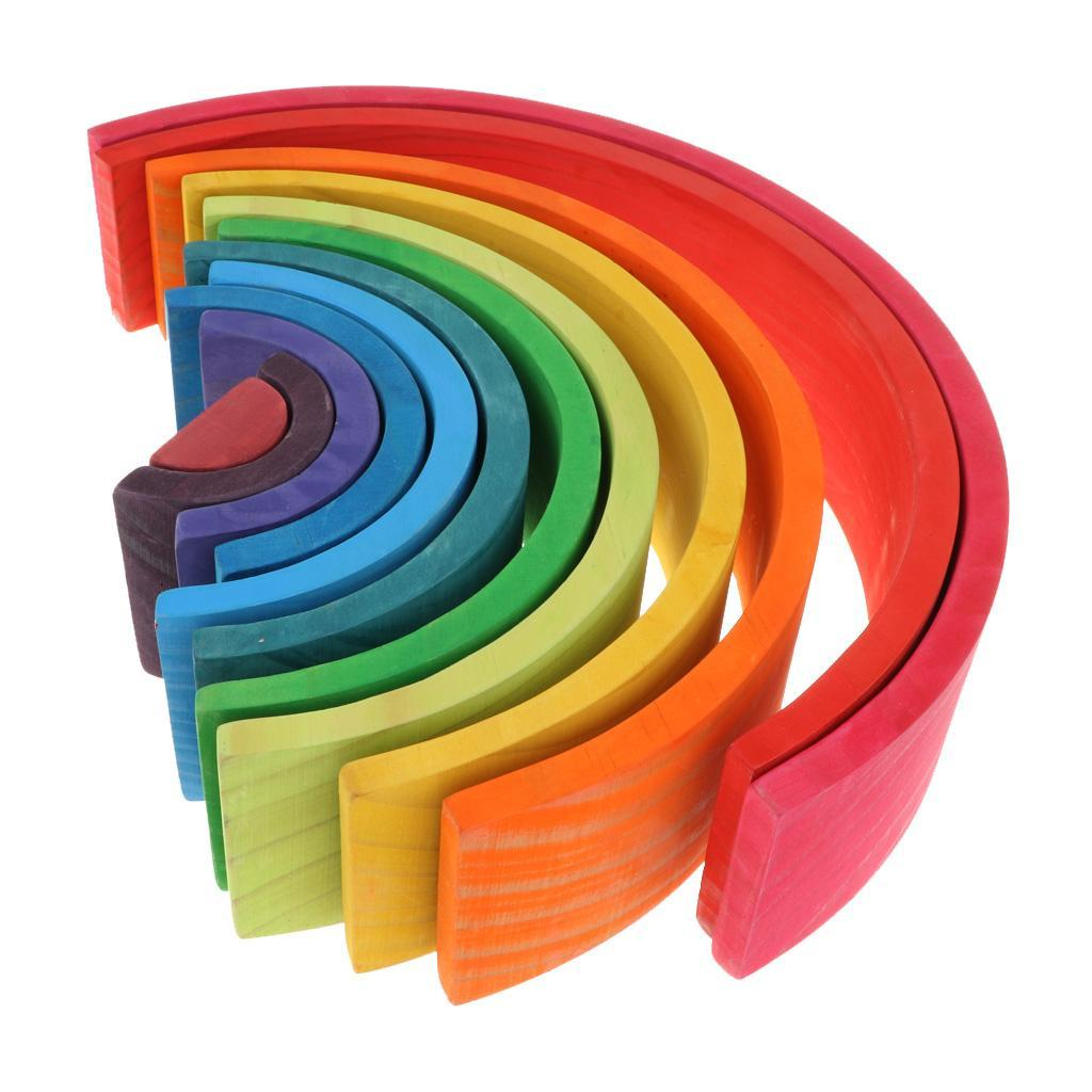 Wooden-Rainbow-Stacker-Nesting-Stacking-Blocks-Educational-Toy-for-Baby-Toddler thumbnail 16