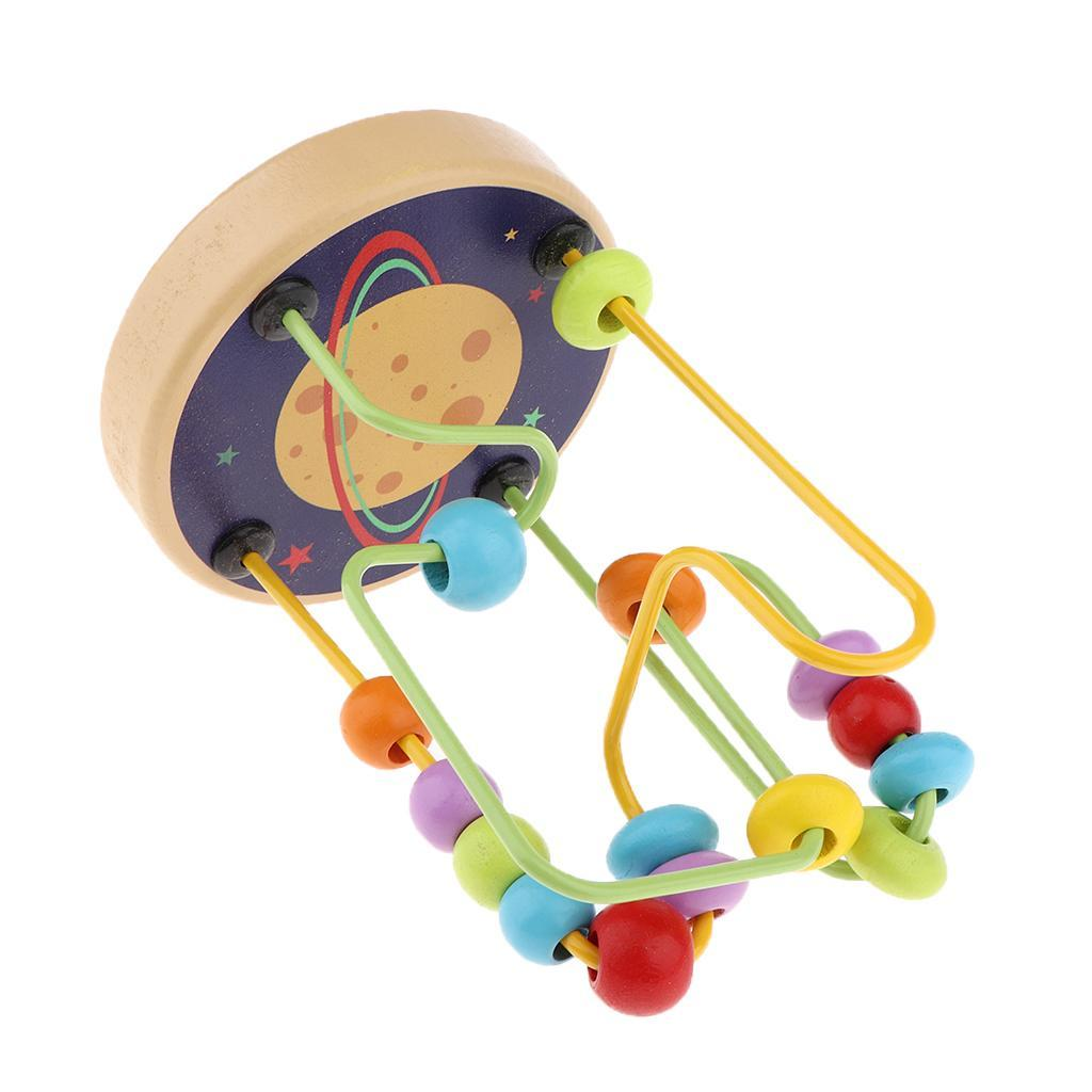 thumbnail 3 - Wooden Colorful Roller Coaster Educational Circle Bead Maze Toy for Toddlers