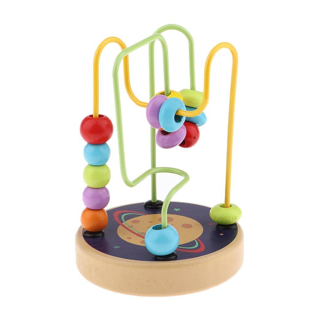 thumbnail 4 - Wooden Colorful Roller Coaster Educational Circle Bead Maze Toy for Toddlers