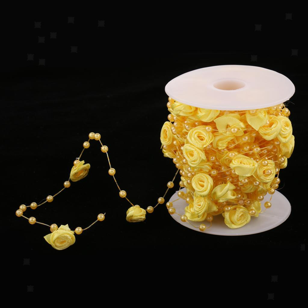 5m 10m 60m Fishing Line Pearls Chain Pearl Beads Chain: 10m Rose Flower Faux Pearls String Roll Garland Wedding