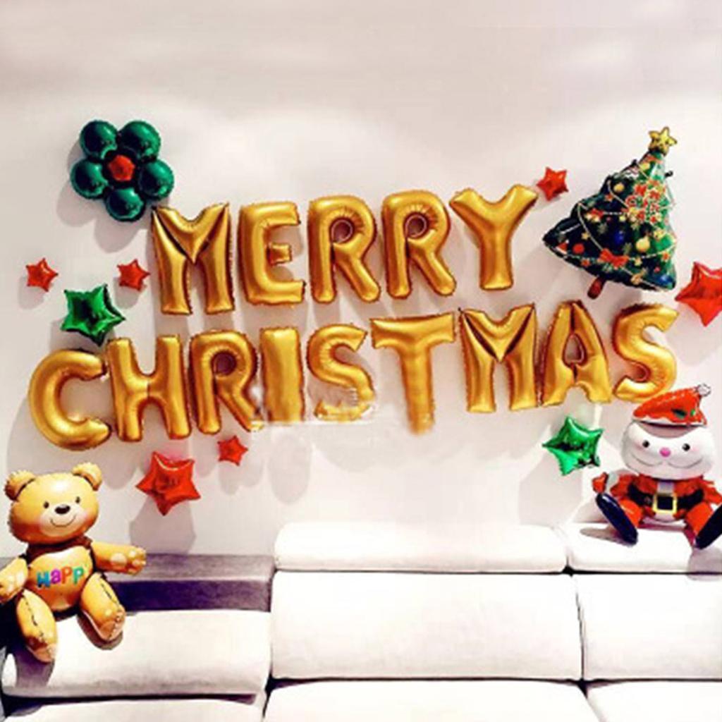 Merry Christmas Party Foil Balloon Xmas Tree Bear Santa Star Mylar Balloons Kits