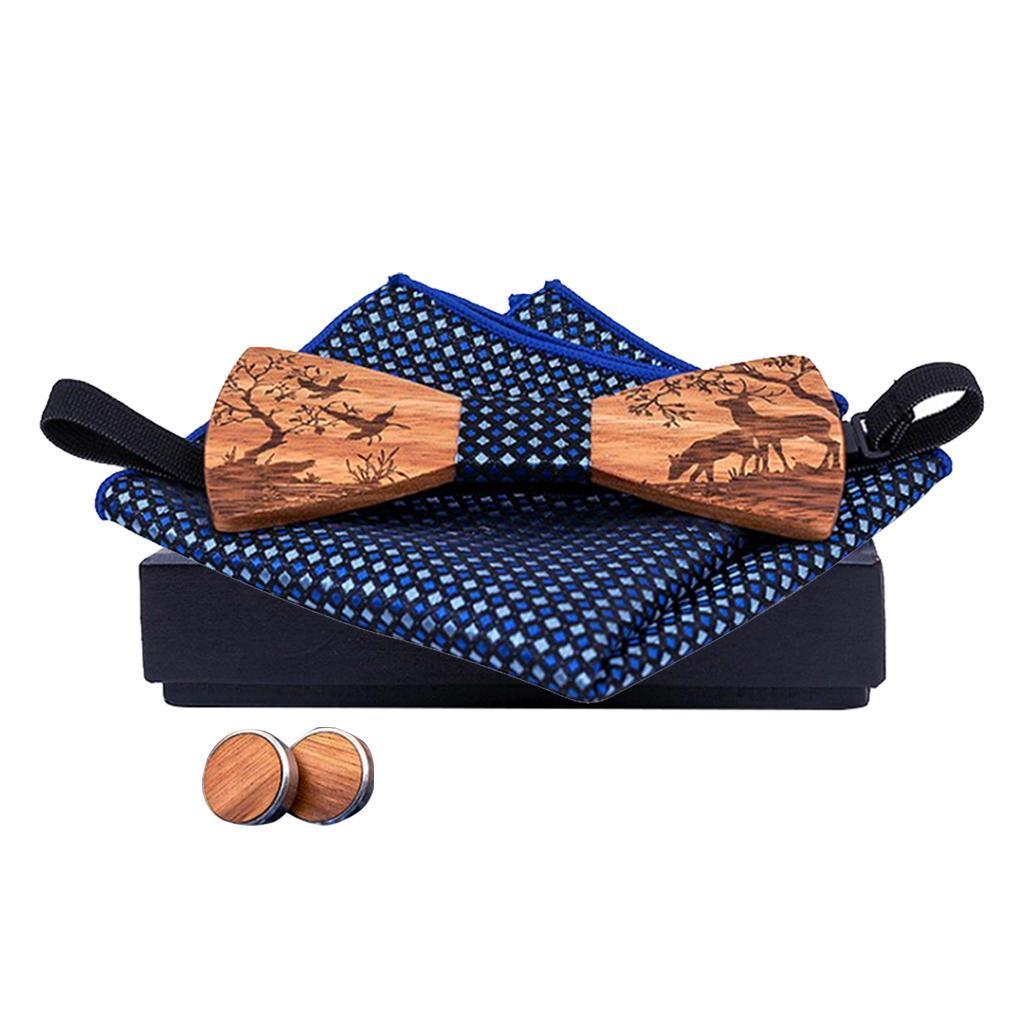 Men-Wooden-Bow-Tie-Set-Patterned-Wood-Bowtie-Handkerchief-Cufflinks-Sets thumbnail 12