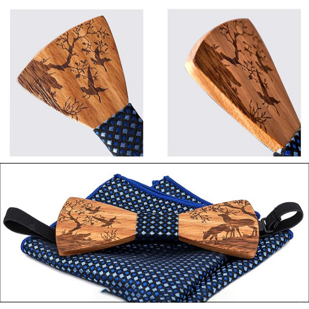 Men-Wooden-Bow-Tie-Set-Patterned-Wood-Bowtie-Handkerchief-Cufflinks-Sets thumbnail 13