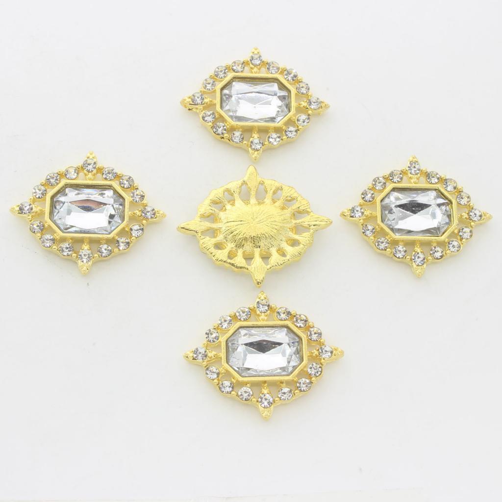 5-Pieces-Acrylique-plat-soutenu-Strass-Cabochons-Bijoux-Decoration miniature 3