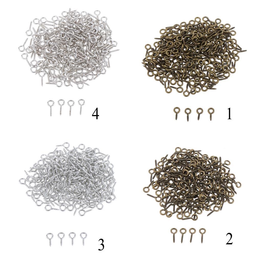 200pcs 2# Mini Eye Pins Peg Eyepins Hooks Eyelets Screw For Jewelry Craft Silver