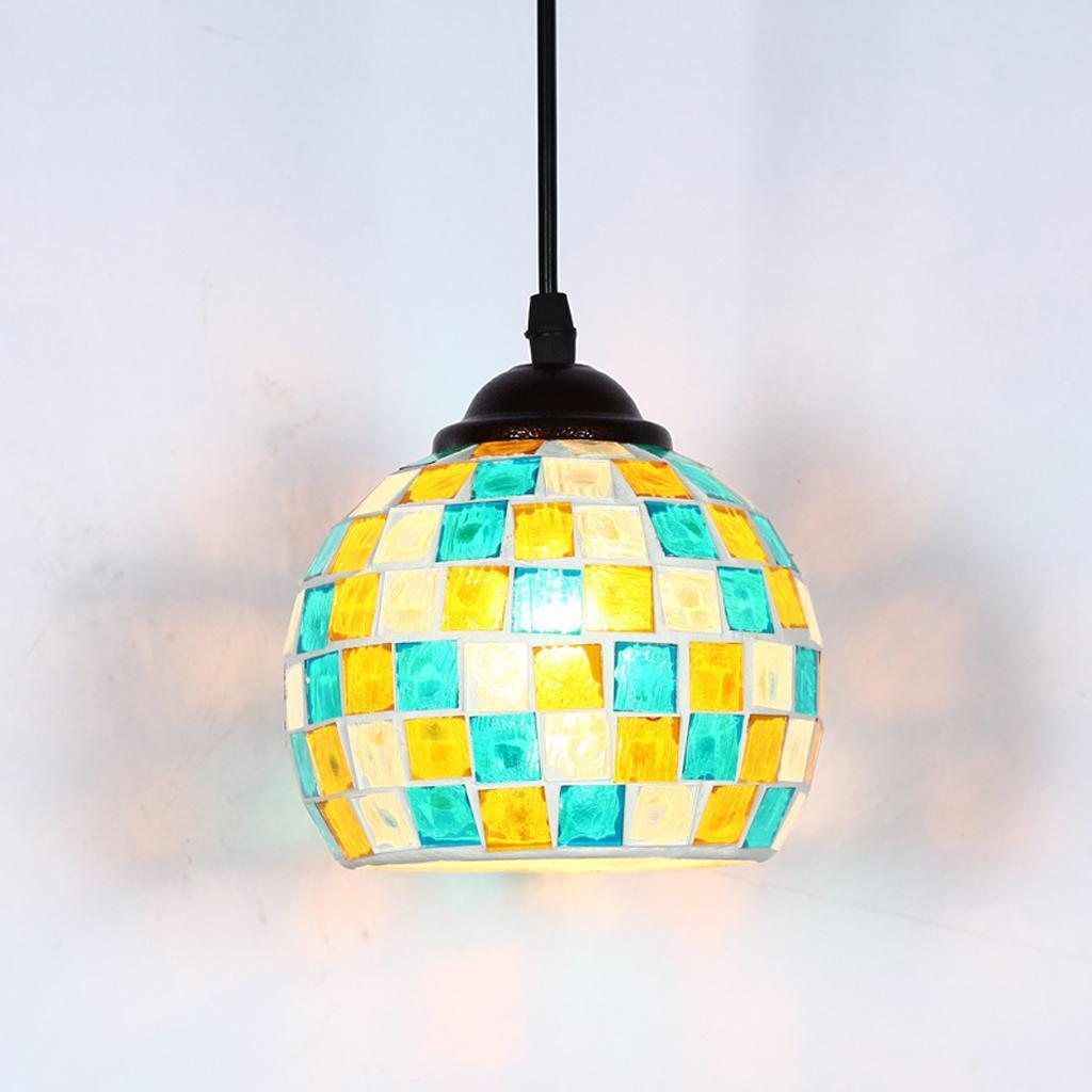 Mosaic-Style-Hanging-Light-Ceiling-Pendant-Lamp-Retro-Lampshade-Cafe-Restaurant thumbnail 30