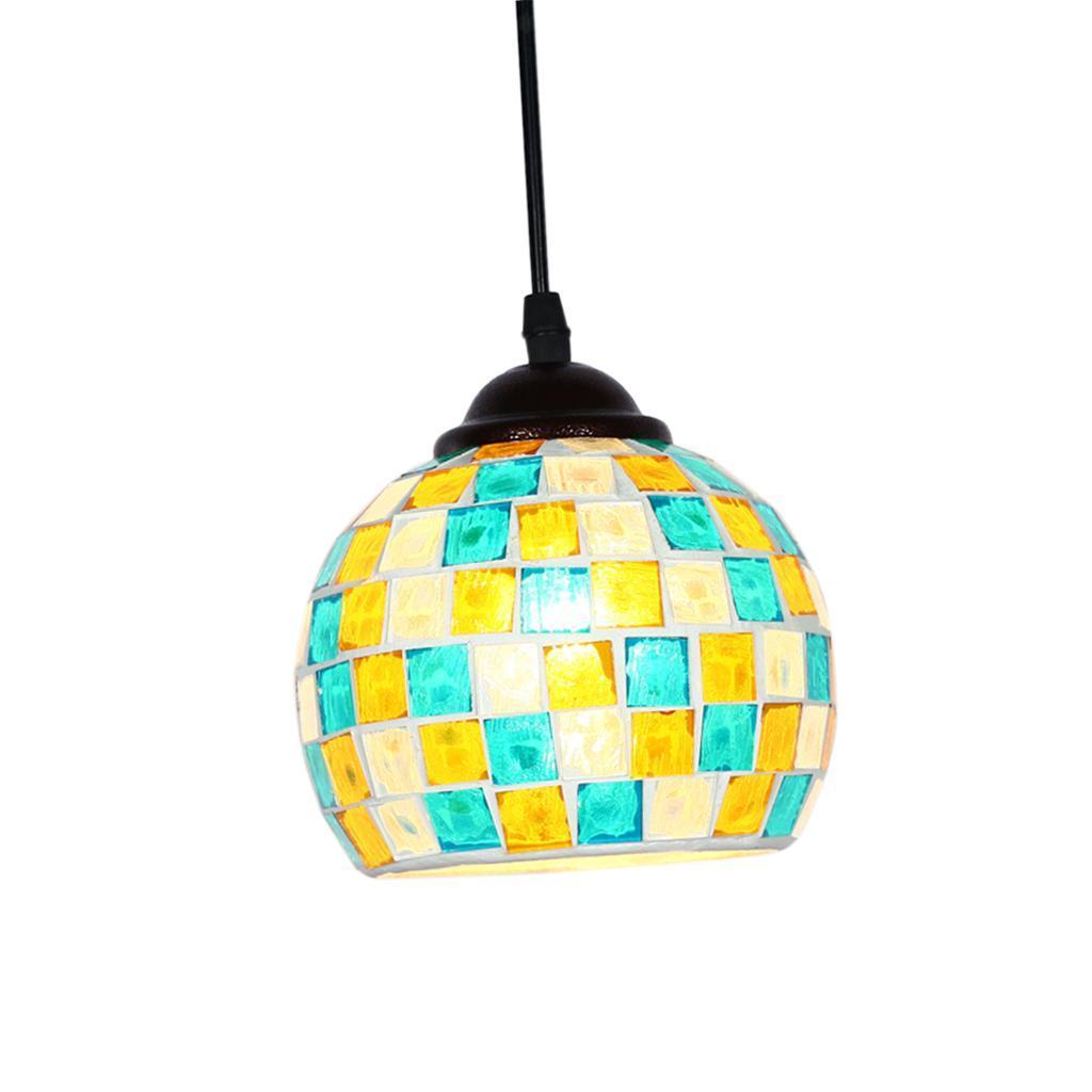 Mosaic-Style-Hanging-Light-Ceiling-Pendant-Lamp-Retro-Lampshade-Cafe-Restaurant thumbnail 28