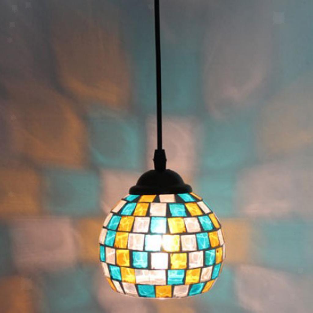 Mosaic-Style-Hanging-Light-Ceiling-Pendant-Lamp-Retro-Lampshade-Cafe-Restaurant thumbnail 29