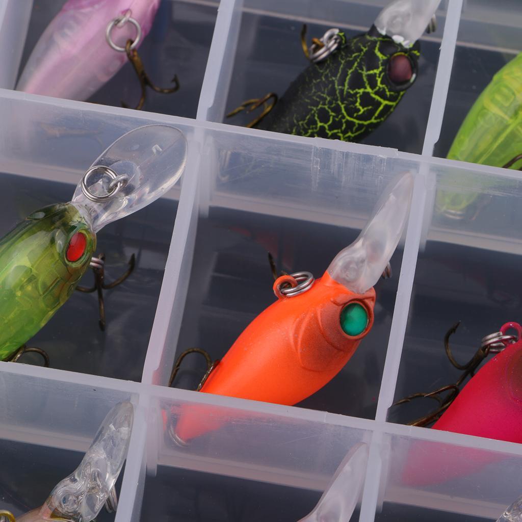 14 Pieces Lifelike Fishing Lures Bass Trout Bait Crankbait Fishing Hard Plastic Bait