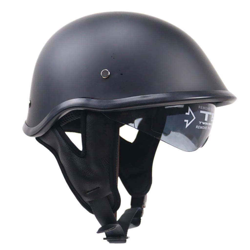 flat black dot motorrad half helm mit drop visier f r cruiser chopper biker ebay. Black Bedroom Furniture Sets. Home Design Ideas