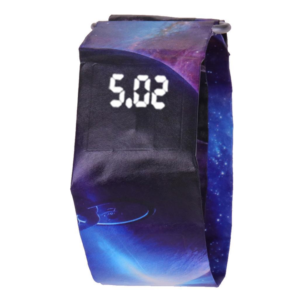 Newspaper-White-LED-Digital-Watch-Mens-Women-Waterproof-Strap-Paper-Sport miniature 15