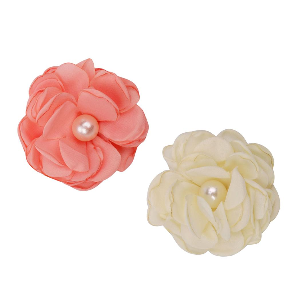 10pcs Adorable Flower Pearl Hair Clips For Party Favor Hair Decoration Accessories -Orange