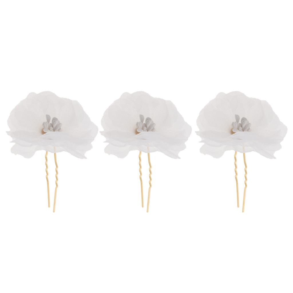 3x-Flower-Hairpins-U-Shape-Hair-Sticks-Bridal-Bride-Headdress-Hair-Pin-Clip thumbnail 9