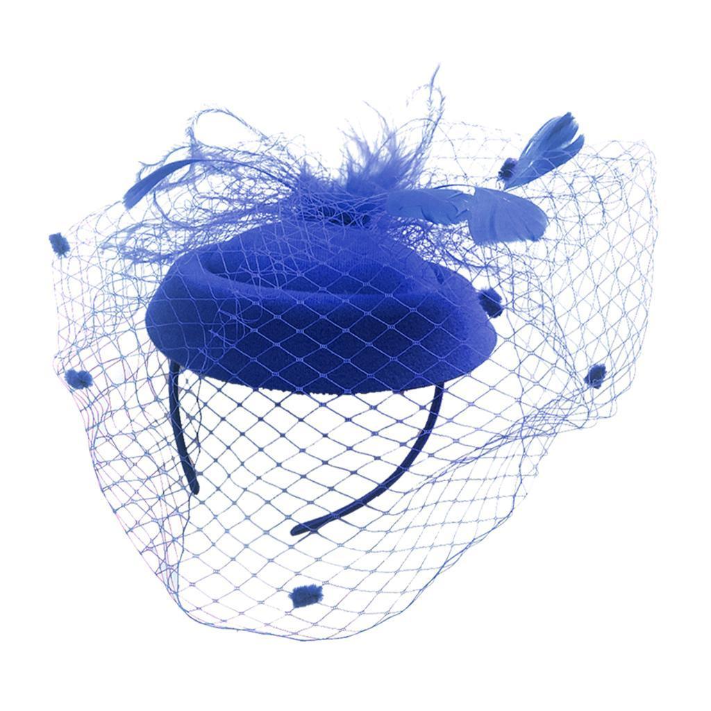 Women-039-s-Fascinator-Hat-Mesh-Veil-Feathers-Headband-Cocktail-Tea-Party-Hats thumbnail 7