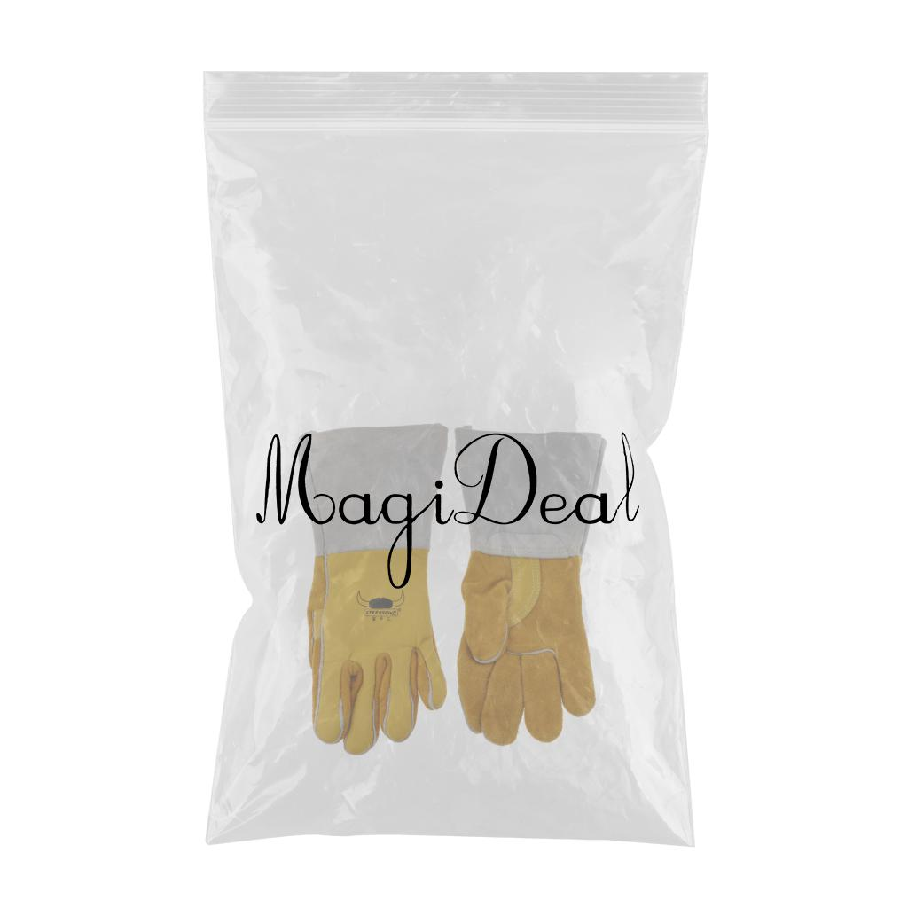 1 Pair Of Soft Artificial Cowhide Welding Protective Gloves Fireproof Worker
