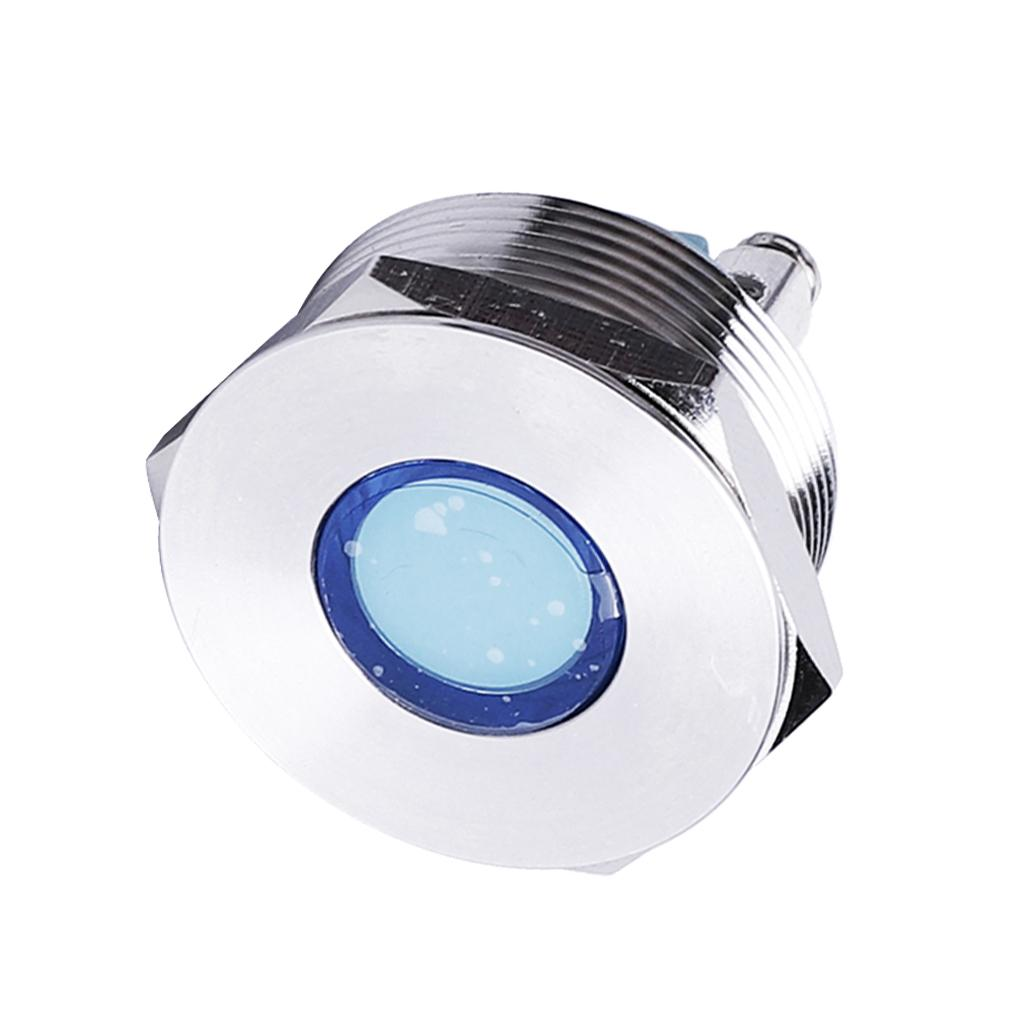 Brand-new 25mm LED 12V Metal Signal Indicator Lights Pilots Dash Light Blue Waterproof