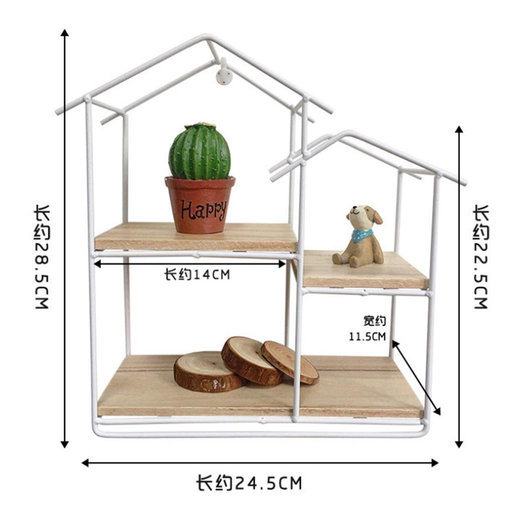 House-Shaped-Iron-Wooden-Wall-Shelf-Display-Rack-Shelf-Storage-Unit-Decor thumbnail 8