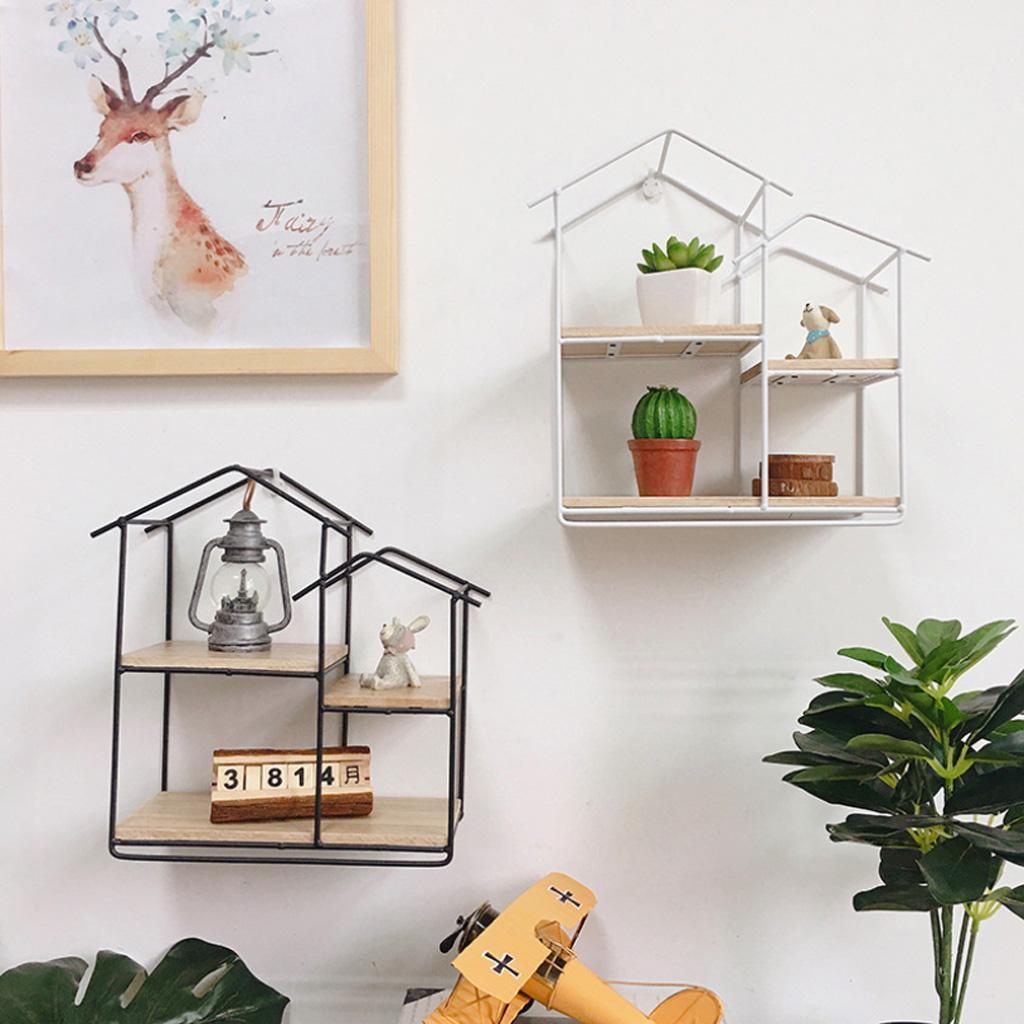 House-Shaped-Iron-Wooden-Wall-Shelf-Display-Rack-Shelf-Storage-Unit-Decor thumbnail 9