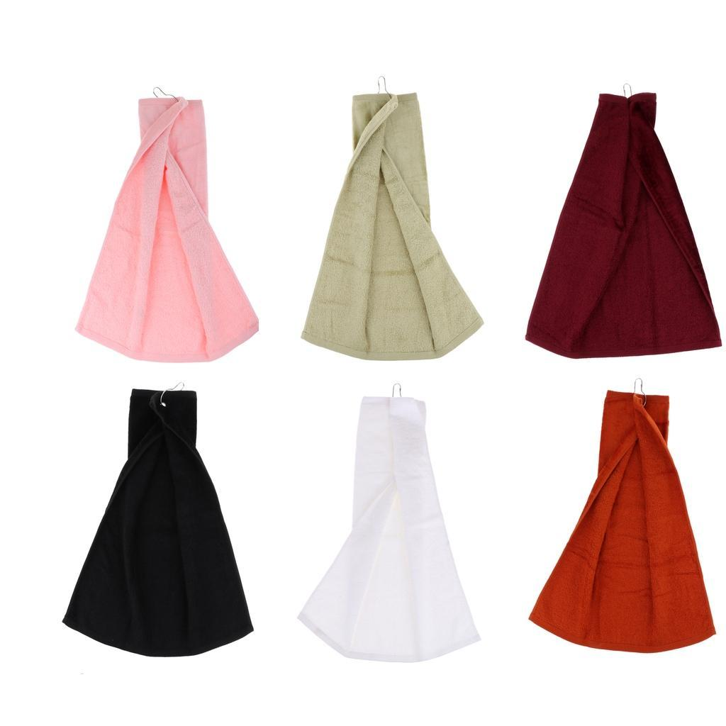 55x40cm-Cotton-Tri-Fold-Hiking-Cotton-Golf-Sport-Bag-Towel-W-Carabiner-Clip thumbnail 4