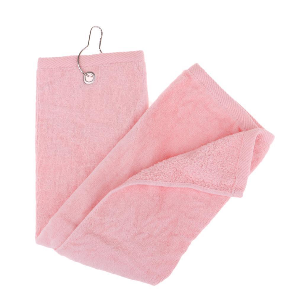 55x40cm-Cotton-Tri-Fold-Hiking-Cotton-Golf-Sport-Bag-Towel-W-Carabiner-Clip thumbnail 3