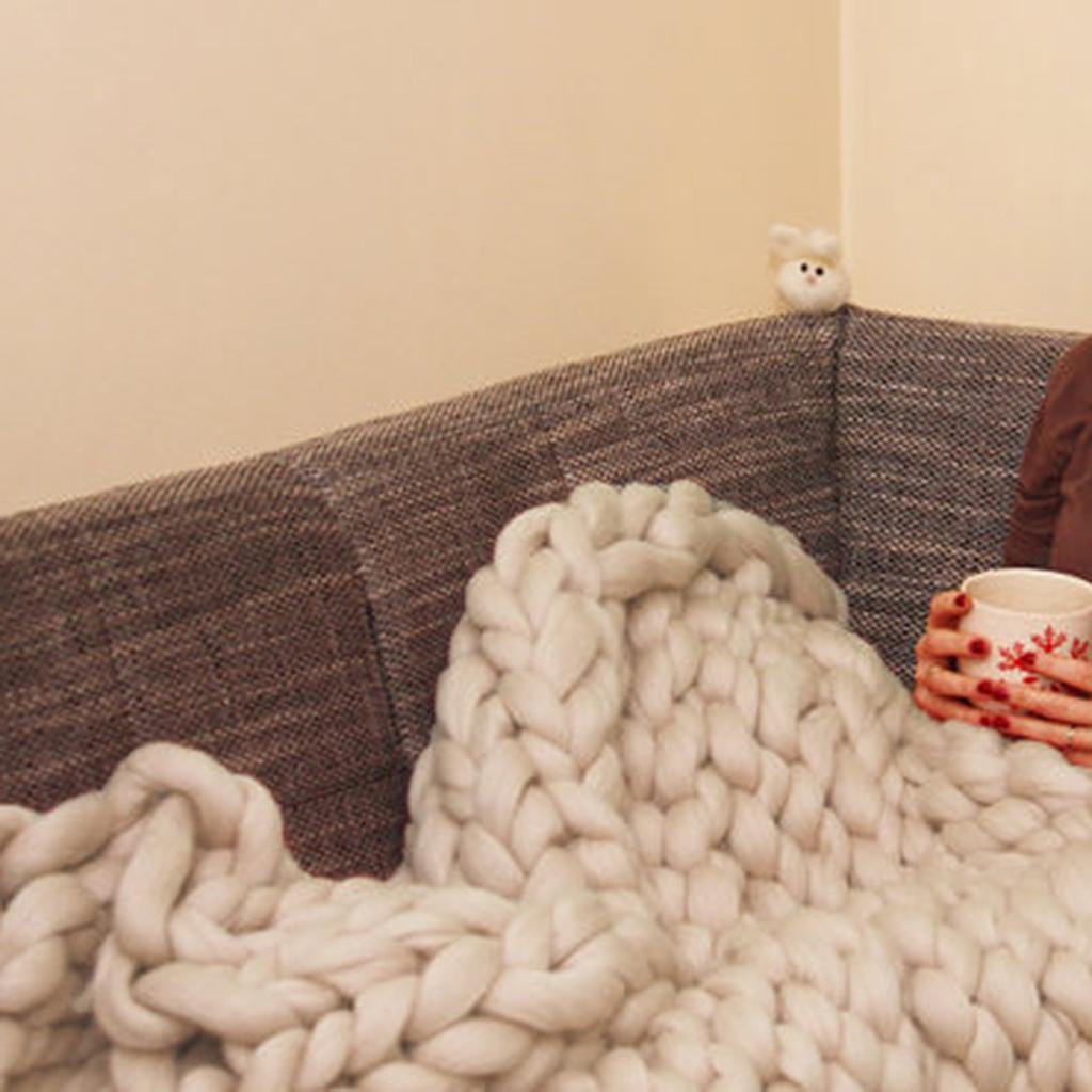 Chunky-Knit-Blanket-Super-Large-Bulky-Arm-Knitting-Blanket-Big-Wool thumbnail 5