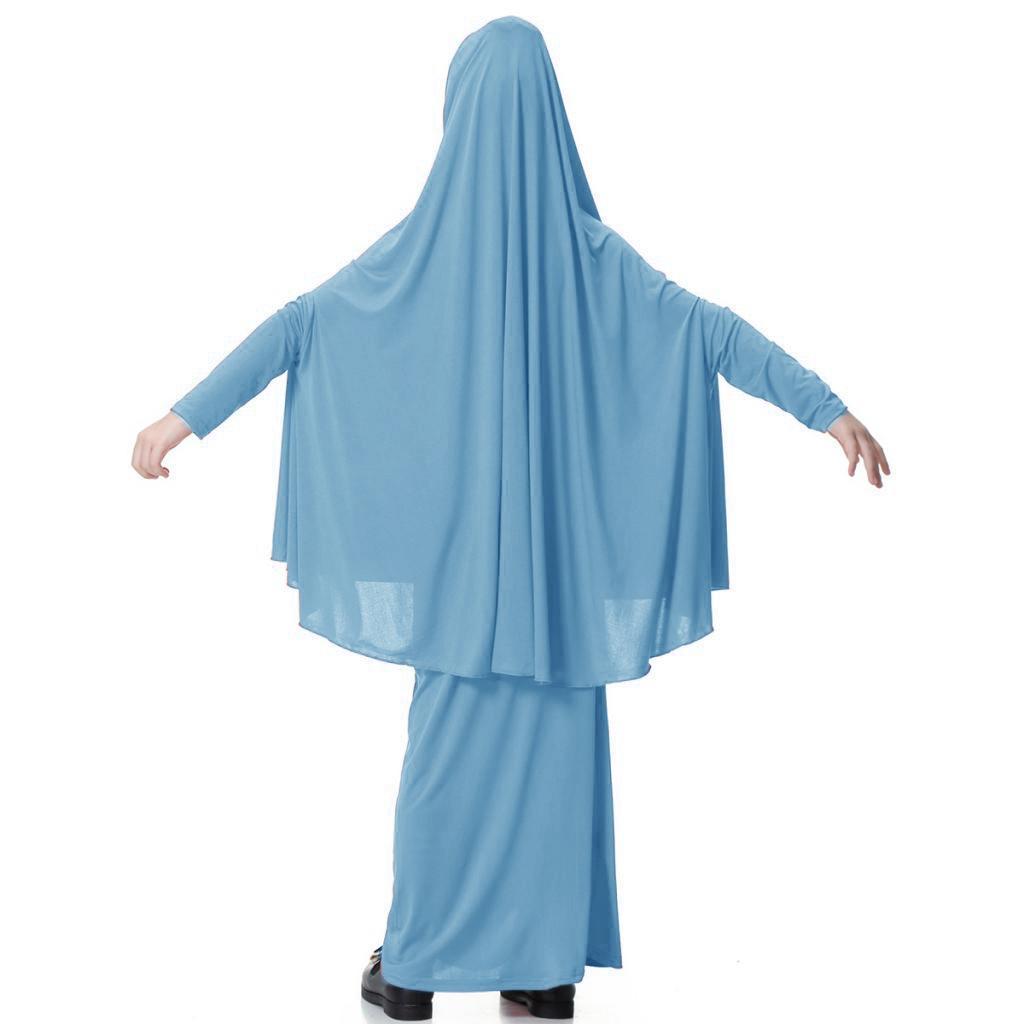 Fille-Robes-Musulmane-Islamique-a-Manches-Longues-Deux-Pieces-Priere-Robe miniature 41