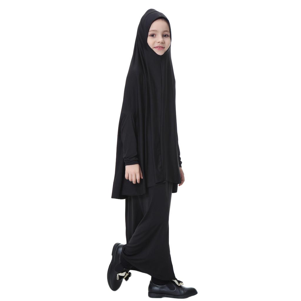 Fille-Robes-Musulmane-Islamique-a-Manches-Longues-Deux-Pieces-Priere-Robe miniature 56