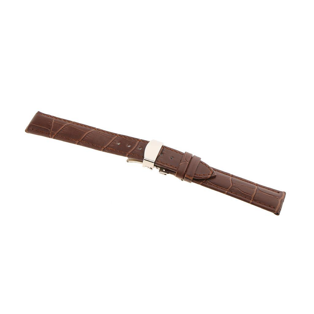 Genuine-Leather-Watch-Strap-Band-18-20-22mm-With-Butterfly-Deployment-Clasp thumbnail 6