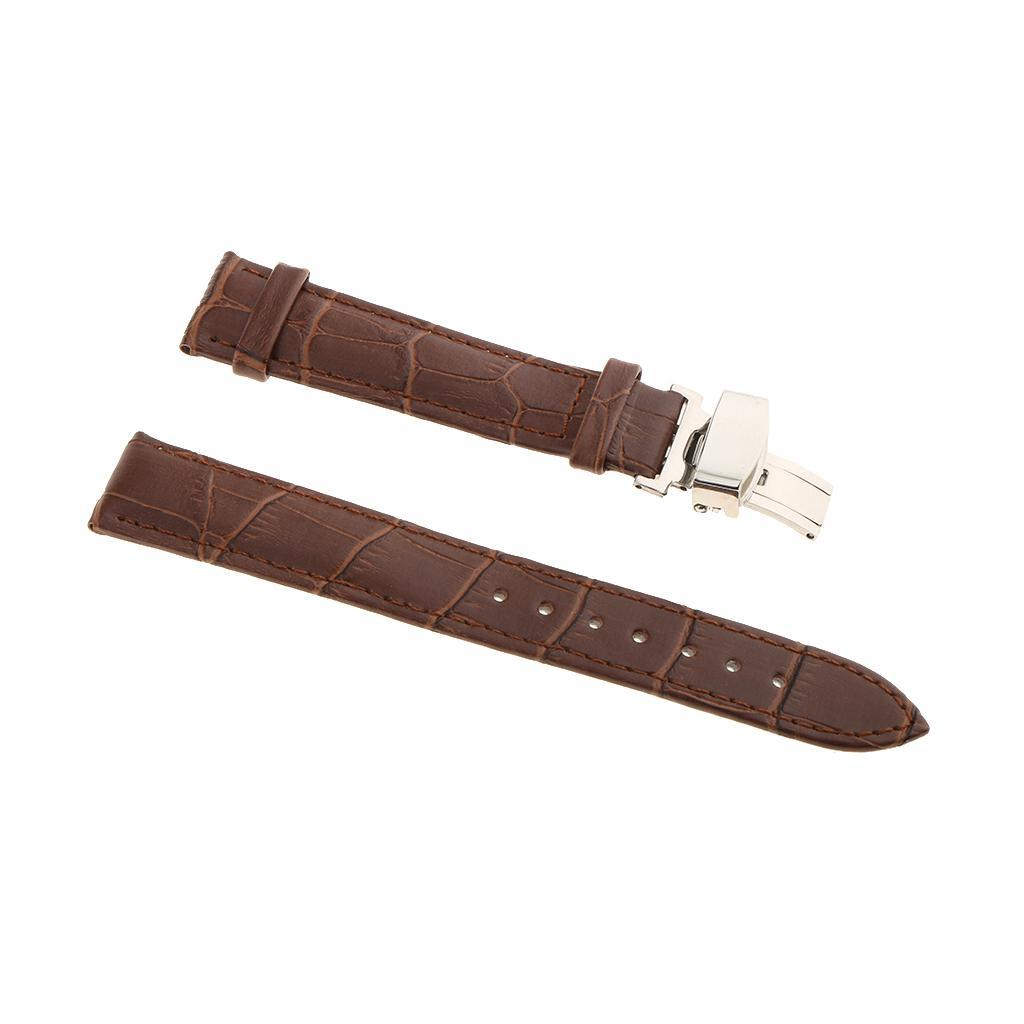 Genuine-Leather-Watch-Strap-Band-18-20-22mm-With-Butterfly-Deployment-Clasp thumbnail 7