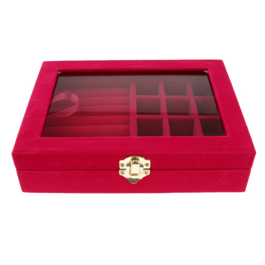 Cufflinks-Earrings-Ring-Display-Showcase-Top-Glass-Lid-Jewelry-Organizer thumbnail 4