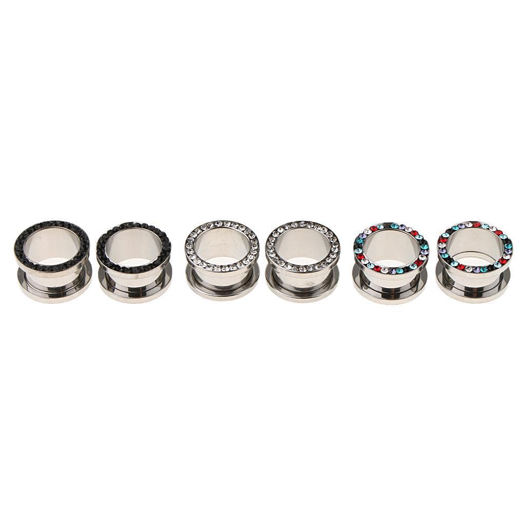 3-coppie-di-tappi-per-orecchie-in-acciaio-inox-Vite-per-tunnel-Tappi-per miniatura 19