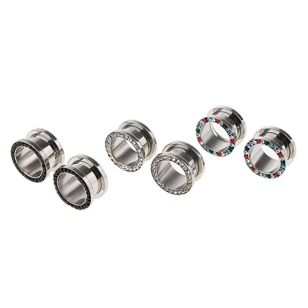 3-coppie-di-tappi-per-orecchie-in-acciaio-inox-Vite-per-tunnel-Tappi-per miniatura 17